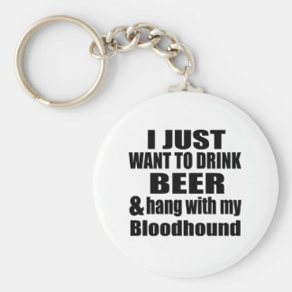 Hang With My Bloodhound Basic Round Button Keychain