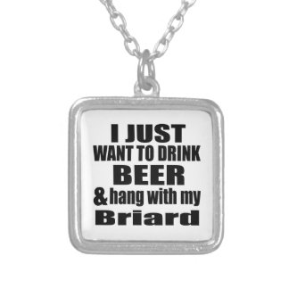 Hang With My Briard Silver Plated Necklace