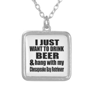 Hang With My Chesapeake Bay Retriever Silver Plated Necklace