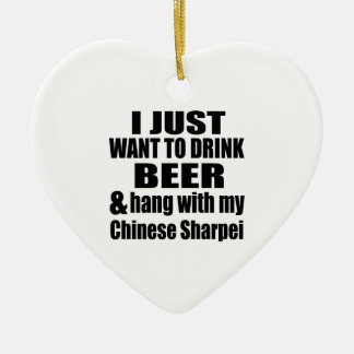 Hang With My Chinese Sharpei Ceramic Heart Ornament