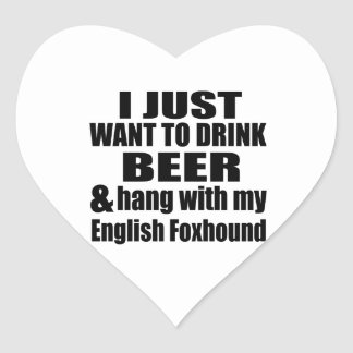 Hang With My English Foxhound Heart Sticker