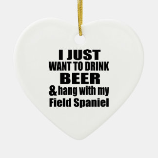 Hang With My Field Spaniel Ceramic Heart Ornament