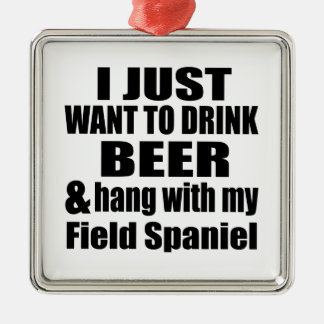 Hang With My Field Spaniel Silver-Colored Square Ornament