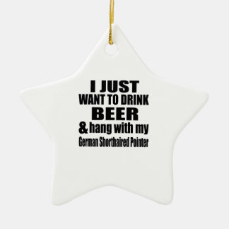 Hang With My German Shorthaired Pointer Ceramic Star Ornament