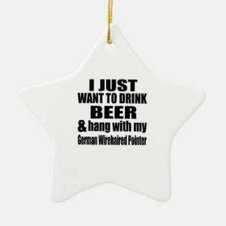 Hang With My German Wirehaired Pointer Ceramic Star Ornament