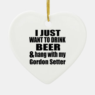 Hang With My Gordon Setter Ceramic Heart Ornament