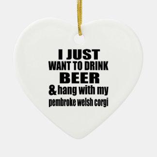 Hang With My pembroke welsh corgi Ceramic Heart Ornament