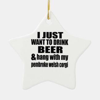Hang With My pembroke welsh corgi Ceramic Star Ornament