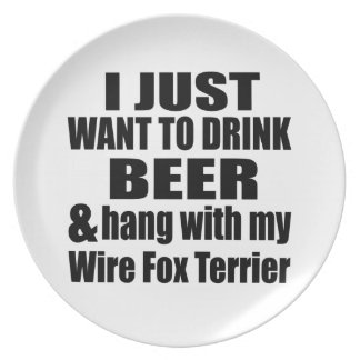 Hang With My Wire Fox Terrier Party Plate
