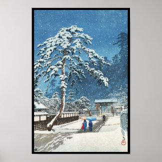 Hanga de tibia de Kawase Hasui de temple d'Ikegami Poster
