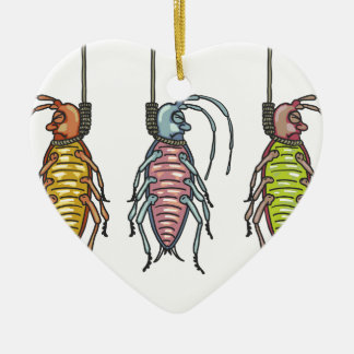 Hanged Roaches Sketch Ceramic Heart Ornament