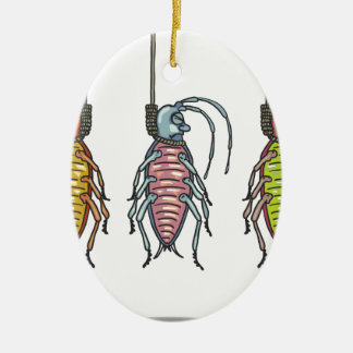 Hanged Roaches Sketch Ceramic Oval Ornament