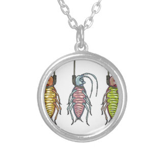 Hanged Roaches Sketch Silver Plated Necklace