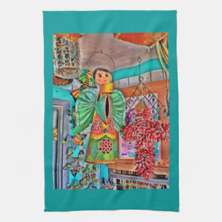 Hanging Angel Metal Art Chili Peppers Painted Frog Kitchen Towel