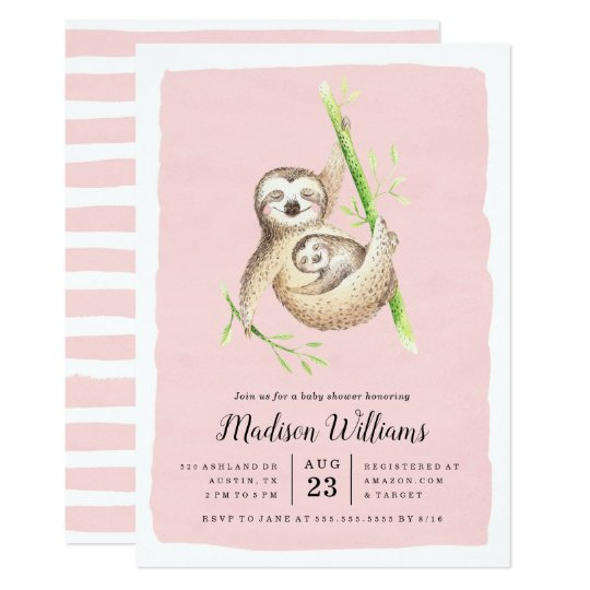 Hanging Around | Sloth Baby Shower Invitations