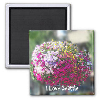 Hanging Baskets Square Magnet