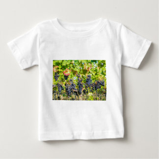 Hanging blue grape bunches in vineyard baby T-Shirt