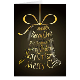 """Hanging Christmas Bell Made Of """"Merry Christmas"""" Cards"""