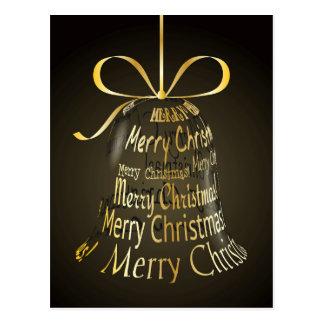 "Hanging Christmas Bell Made Of ""Merry Christmas"" Postcard"