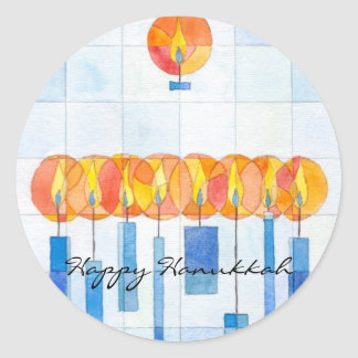 Hanging Hanukkah Candles Classic Round Sticker