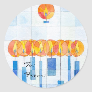 Hanging Hanukkah Candles Gift Tag