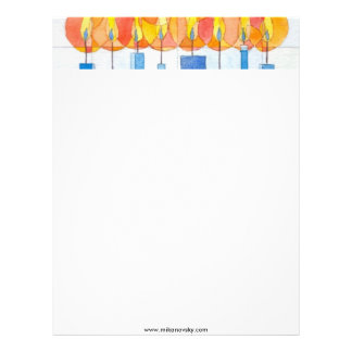 Hanging Hanukkah Candles Letterhead
