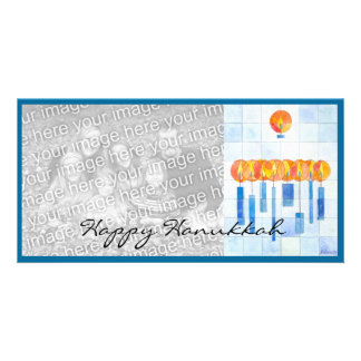 Hanging Hanukkah Candles Personalized Photo Card