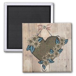 Hanging Heart on Wood Background Magnet - Large