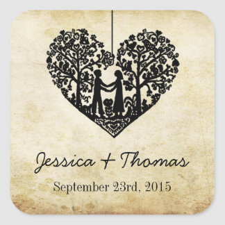 Hanging Heart Tree Vintage Wedding Collection Square Sticker