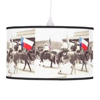 Hanging Lamp with image of Texas Parade