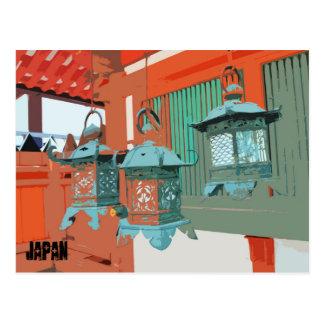 Hanging Lanterns in Nara Japan Postcard