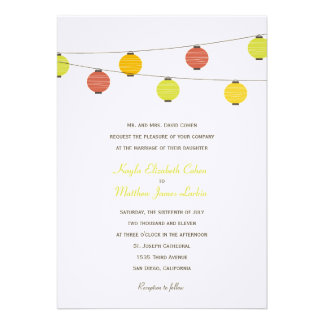Hanging Lanterns Wedding Invitation Personalized Announcements