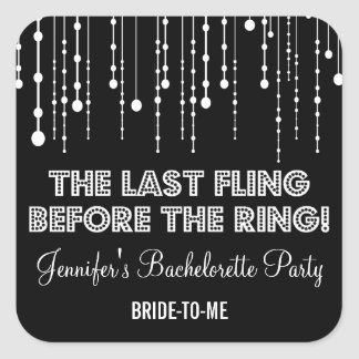 Hanging Lights Bachelorette Party Square Square Sticker