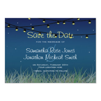 Hanging Lights Night Under the Stars Save the Date Card