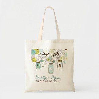 Hanging Mason Jar 2 & Retro Flowers Wedding Design Tote Bag