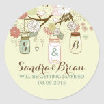 Hanging Mason Jar & Retro Flowers Wedding Sticker Round Sticker