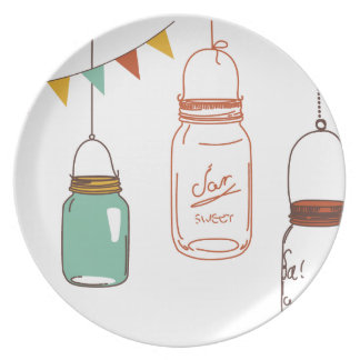 Hanging Mason Jars with Flags Party Plate