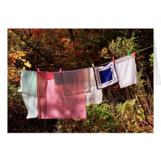 """Hanging Out"" No. 1  Autumn Country Clothesline Card"