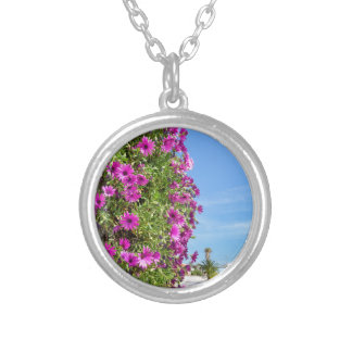 Hanging pink spanish daisies on wall near street silver plated necklace