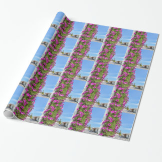 Hanging pink spanish daisies on wall near street wrapping paper