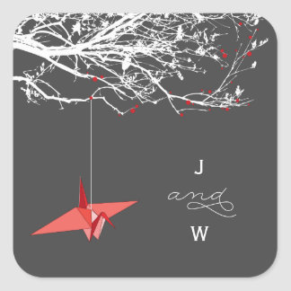 Hanging Red Paper Crane Monogram Wedding Sticker