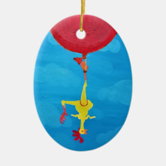 Hanging rubber chicken ceramic oval ornament