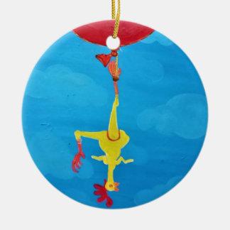 Hanging rubber chicken round ceramic ornament