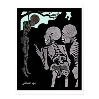 Hanging Skeleton postcard