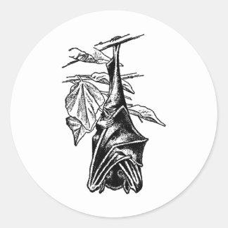 Hanging Sleeping Bat - Black Version Classic Round Sticker