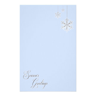 Hanging Snowflakes (blue) Personalized Stationery