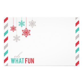 Hanging Snowflakes Festive Holiday Stationery