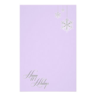 Hanging Snowflakes (lavender) Stationery Design