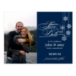 Hanging Snowflakes Photo Save The Date (Navy) Post Card