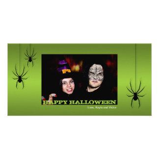 Hanging spiders black green Halloween greeting Custom Photo Card